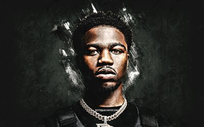 Roddy Ricch, Rodrick Wayne Moore, american rapper, portrait, creative art, gray stone background