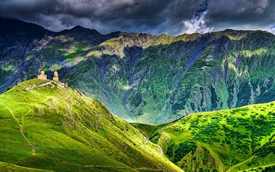 Kazbegi National Park, 4k, beautiful nature, HDR, Caucasus range, Khevi Province, mountains, Georgia, Asia, georgian nature