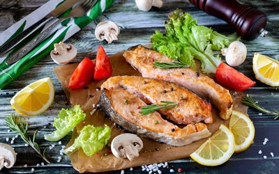 fish dishes, fried salmon with vegetables, fried fish, salmon, vegetables, salmon steak