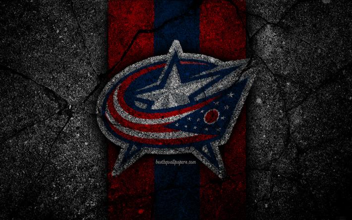 Download Wallpapers 4k Columbus Blue Jackets Logo Hockey Club