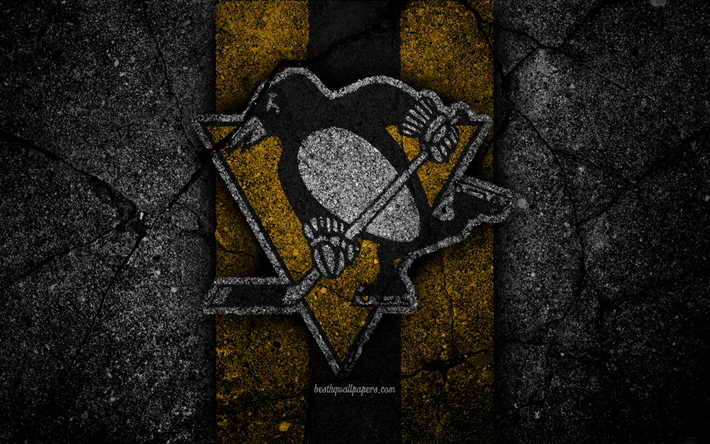 4k, Pittsburgh Penguins, logo, hockey club, NHL, black stone, Eastern