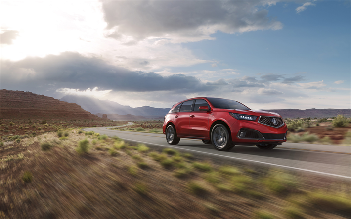 Acura MDX, road, 2019 cars, crossovers, red MDX, motion blur, Acura