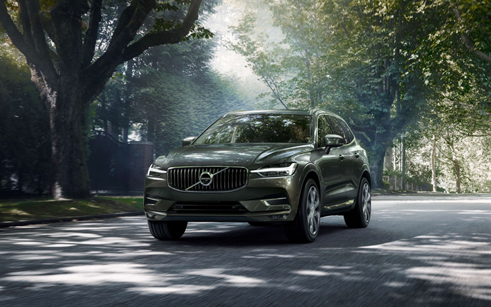 Volvo XC60, 2018, 4k, Gray Crossover, Front View, Exterior, New