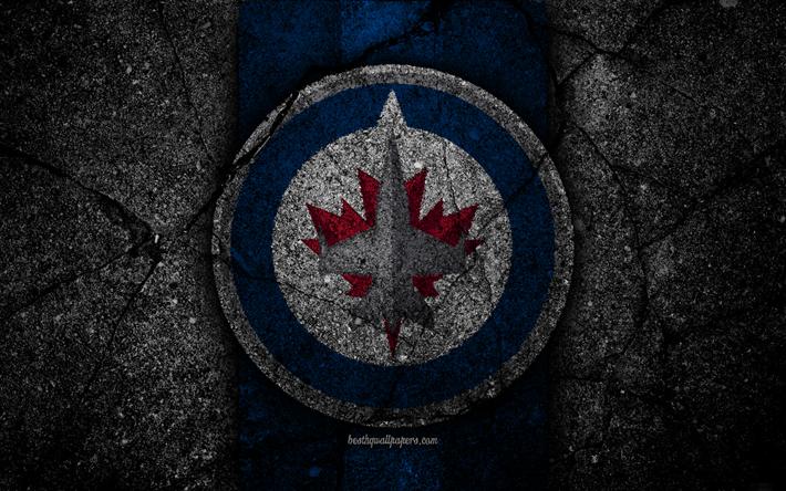 Download Wallpapers 4k Winnipeg Jets Logo Hockey Club
