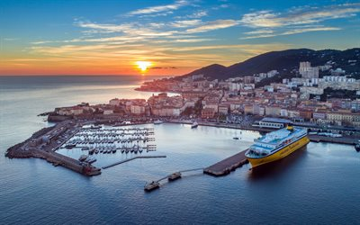 Ajaccio, sunset, evening, port, cruise liner, Corsica, France, city panorama