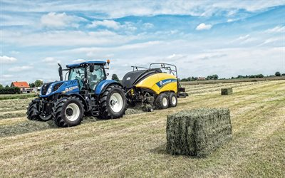 New Holland T7260, trattori, New Holland BigBaler 890 Plus CropCutter, la raccolta di concetti, di campo, di macchine agricole New Holland