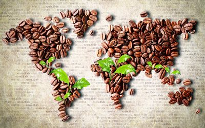 coffee beans world map, world map concept, artwork, creative, coffee world map, 3D art, mosaic world map, world maps