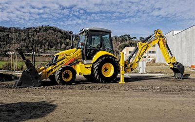 new holland b90b lr, backhoe loader, baumaschinen, sattelschlepper, moderne technologie, new holland