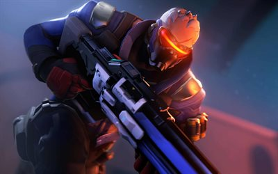 Soldier 76, 4k, cyber warrior, darkness, Overwatch, Overwatch characters, Soldier 76 with weapon