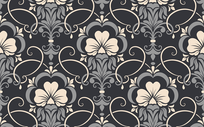 Download wallpapers damask seamless texture, gray background ...