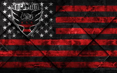 DC United, 4k, American flag club, grunge art, grunge texture, American flag, MLS, Washington, USA, Major League Soccer, USA flag, soccer, football