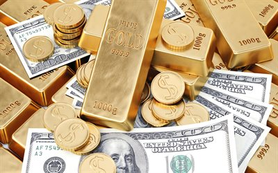 gold bars, american dollars, wealth concepts, finance, money, business concepts