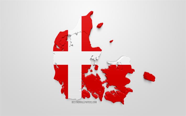 Lataa Kuva 3d Lippu Tanska Siluetti Kartta Tanska 3d Art