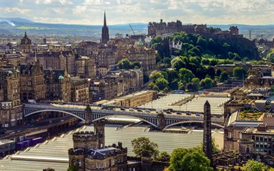 Edinburgh, city panorama, summer, evening, Scotland, UK