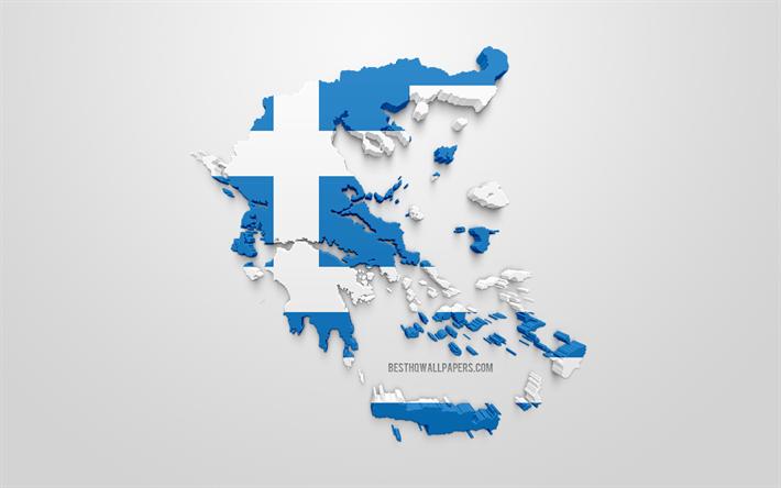 Lataa Kuva 3d Lippu Kreikka Siluetti Kartta Kreikka 3d Art