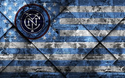 new york city fc, 4k, american soccer club, grunge, kunst, grunge-textur, amerikanische flagge, mls, new york, usa, major league soccer, usa-flagge, fußball