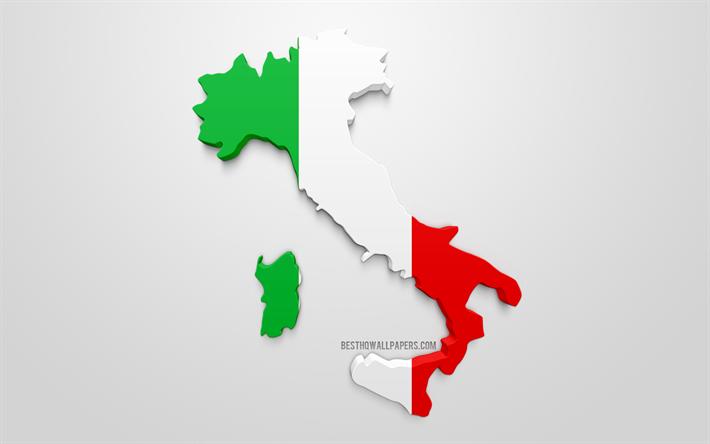 Lataa Kuva 3d Lipun Italia Siluetti Kartta Italia 3d Art