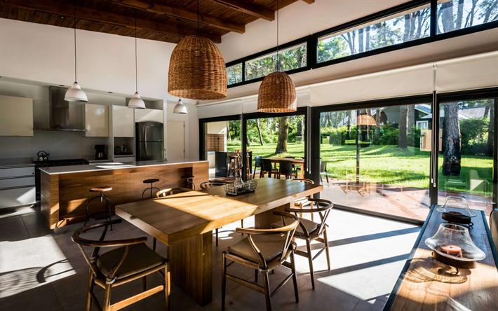 modern interior design, country house, dining room, kitchen, wooden furniture, wooden ceiling, stylish interior