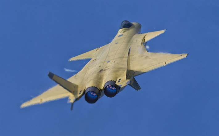Download wallpapers Chengdu J-20, Chinese fighter jet, combat