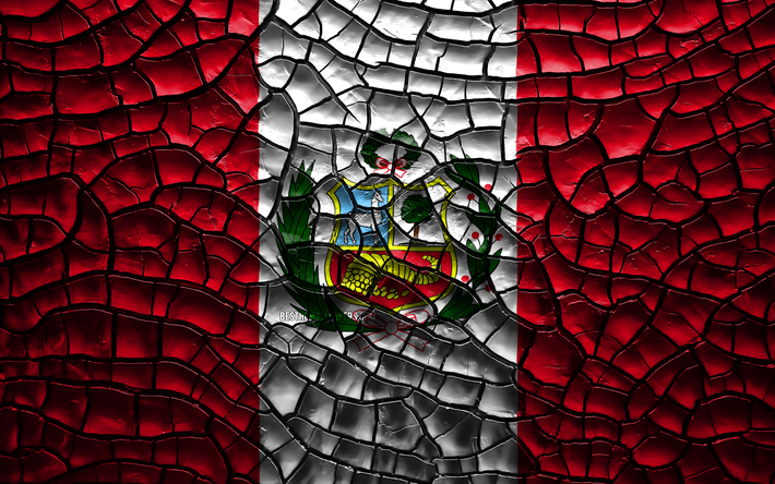 Download Wallpapers Flag Of Peru 4k Cracked Soil South America Peruvian Flag 3d Art Peru South American Countries National Symbols Peru 3d Flag For Desktop Free Pictures For Desktop Free