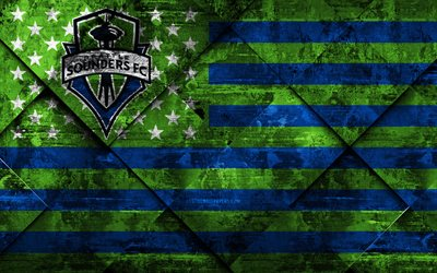 Seattle Sounders, 4k, American soccer club, grunge art, grunge texture, American flag, MLS, Seattle, Washington, USA, Major League Soccer, USA flag, soccer, football