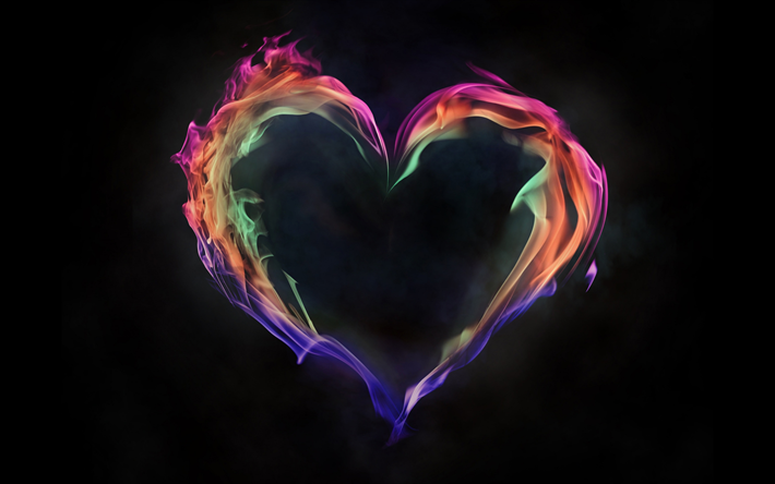 heart of flame, colorful flame, love concepts, fiery heart, black background