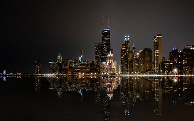 Willis Tower, Chicago, noite, arranha-céus, paisagem urbana, O Lago De Michigan, horizonte, Michigan, EUA