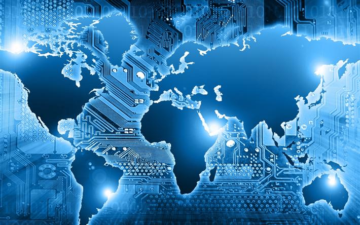 Download Wallpapers Blue Technology World Map Digital World