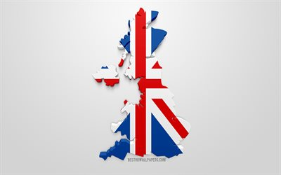3d flag of United Kingdom, silhouette map of United Kingdom, 3d art, UK flag, Great Britain, Europe, Sweden, geography, Sweden 3d silhouette