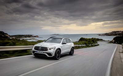 Mercedes-AMG GLC 63 4MATIC, 2019, sports crossover, new white GLC 63, tuning, German cars, GLC 63S, Mercedes