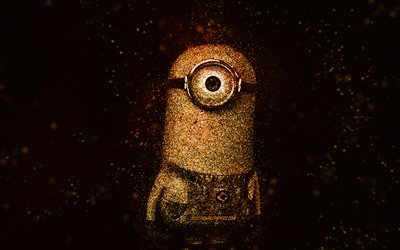 Kevin the Minion, Despicable Me, Kevin, glitter art, Minions, creative art, Kevin Minion, black background, Despicable Me characters