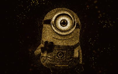 Carl the Minion, Despicable Me, Carl, glitter art, Minions, creative art, Carl Minion, black background, Despicable Me characters
