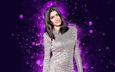 Jenifer Bartoli, 4k, violet neon lights, french singer, music stars, french celebrity, Jenifer Yael Dadouche-Bartoli, Jenifer, superstars, Jenifer Bartoli 4K