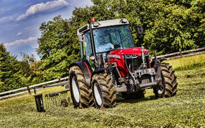 Massey Ferguson 3710 WF, 4k, picking grass, HDR, 2021 tractors, agricultural machinery, harvest, red tractor, agriculture, Massey Ferguson