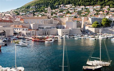 Dubrovnik, Yachts, Croatia, bay, summer, rest