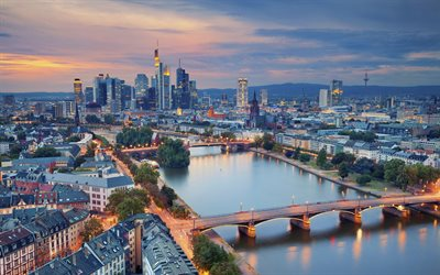 Germany, Frankfurt am Main, evening city, Main River, bridge