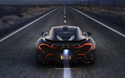 McLaren P1, supercar, hypercar, rear view, road, speed, fire, McLaren