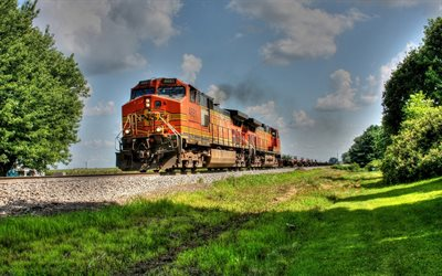 train, BNSF 4681, railway, HDR, locomotive