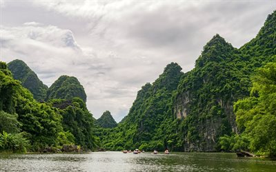 Vietnam, rocks, bay, sea, summer, travel, Ninh Binh