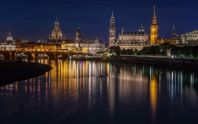Dresden, evening, city lights, Germany, Dresden Panometer