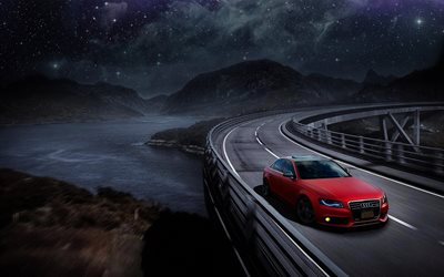 nightscape, Audi A4, road, tuning, red a4, german cars, Audi