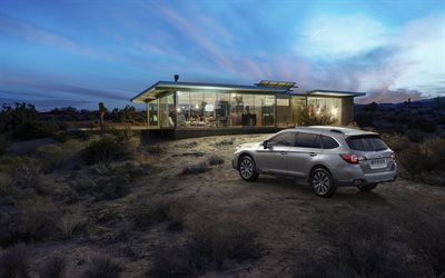 Subaru Outback, 2018, rear view, exterior, all-wheel drive station wagon, new gray Outback, Japanese cars, Subaru