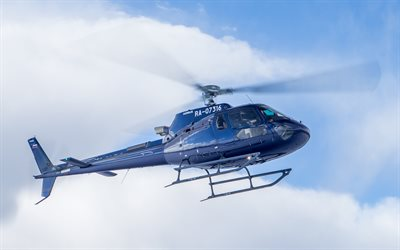 4k, Eurocopter AS350, civil aviation, Airbus Helicopters H125, passenger helicopters, AS350, blue helicopter, H125, Airbus, Eurocopter, red helicopter