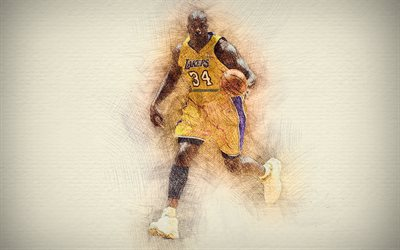 Shaquille ONeal, 4k, œuvres d'art, Shaq, stars du basket-ball, Los Angeles Lakers, ONeal, NBA, basket-ball, LA Lakers, dessin ONeal