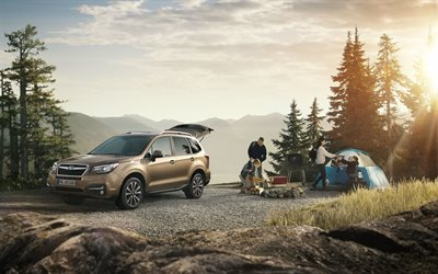 Subaru Forester, 2018, Japanese crossover, exterior, new brown Forester, travel by car concepts, Japanese cars, USA, Subaru