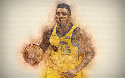 4k, Donovan Mitchell, match, stars du basket-ball, Utah Jazz, de la NBA, illustration, basket-ball, dessin Donovan Mitchell