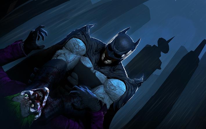 Scarica sfondi batman vs joker 4k supereroi battaglia for Sfondi batman