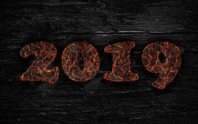 2019 year, 4k, fiery letters, artwork, 2019 concepts, wooden texture, creative, Happy New Year 2019