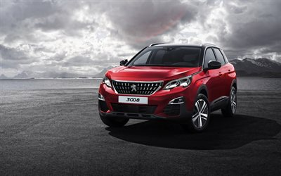 Peugeot 3008, 2019, exterior, red crossover, front view, new red 3008, french cars, Peugeot