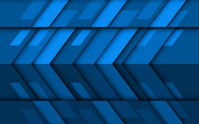 blue arrows, 4k, material design, creative, geometric shapes, lollipop, arrows, blue material design, strips, geometry, blue backgrounds